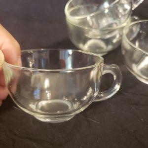 Vintage Kitchen - Set of 4 Vintage Clear Glass Teacups